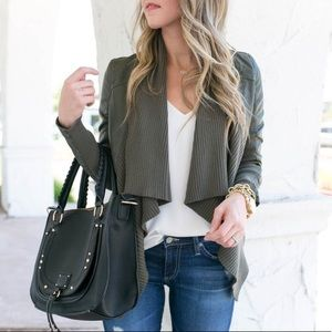 Blank NYC All or Nothing Faux Leather Olive Jacket